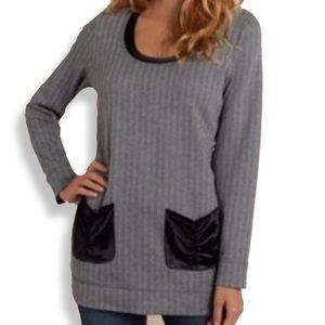Soft Surroundings • Grey Herringbone Tunic Sweater